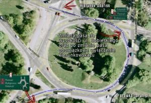 Schemat jazdy przez rondo Toruń Plac Pokoju Toruńskiego w kierunku na Gdańsk