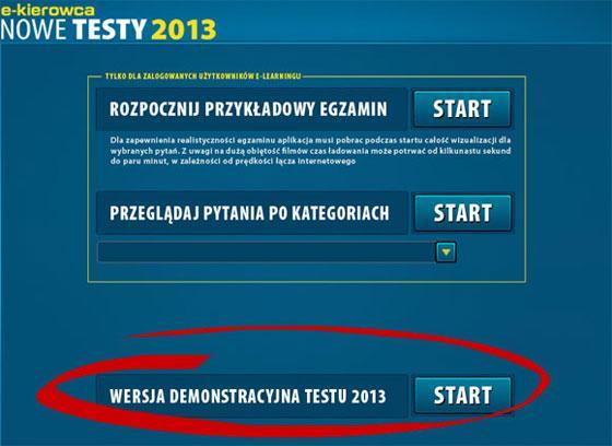 Nowe testy na prawo jazdy 2013 online - demonstracyjne