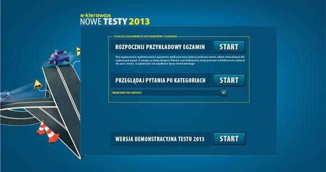 Nowe testy 2013 na prawo jazdy online