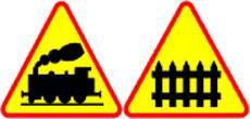 Znaki ostrzgawcze - przejazd kolejowy