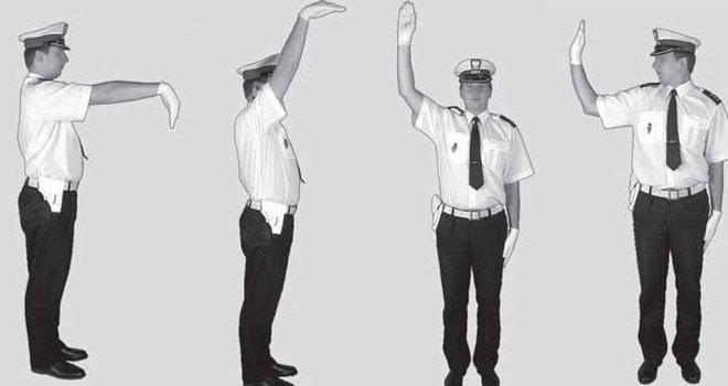 Pozycje i gesty wydawane przez policjanta na skrzyżowaniu.